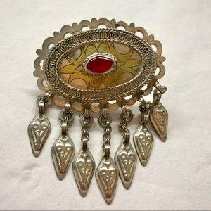 Vintage Tibetan Carnelian Silver Oval Pin / Brooch